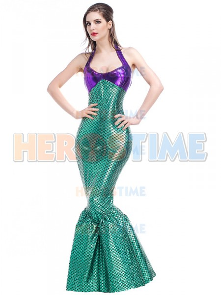 2017 Sexy Halter Mermaid Halloween Costume Long Tail Dress