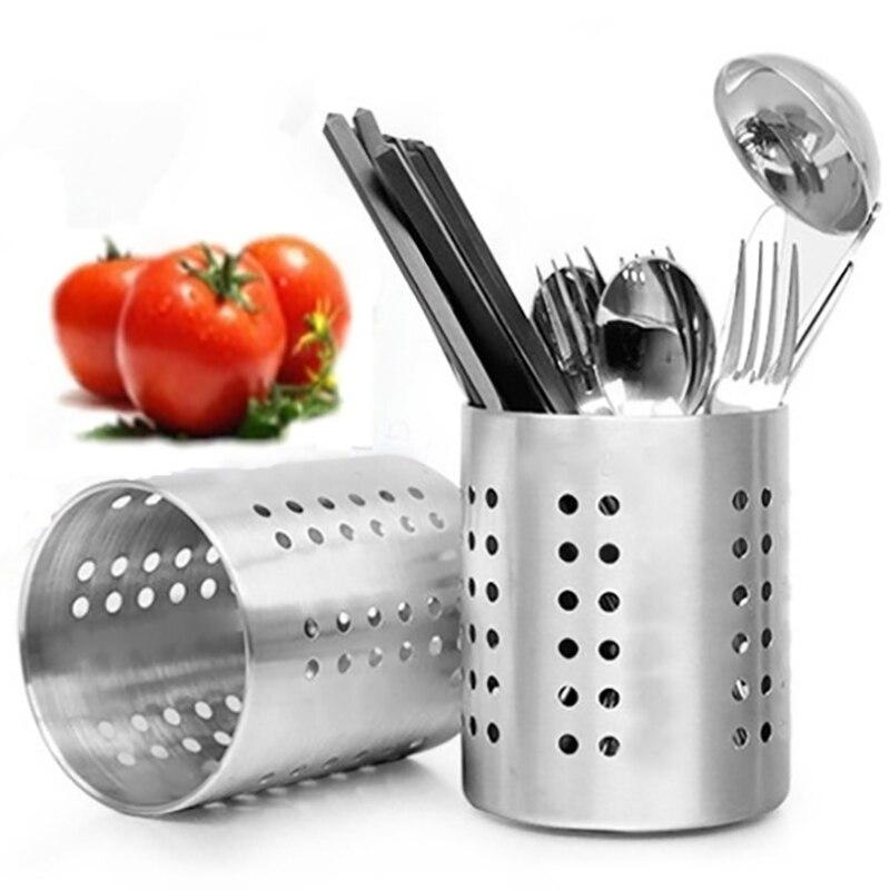 Stainless Steel Dinnerware barrel Leaking design Kitchen Storage Box Pipette box Fork Scoop Knife Dinner Tool Holder 1pcs