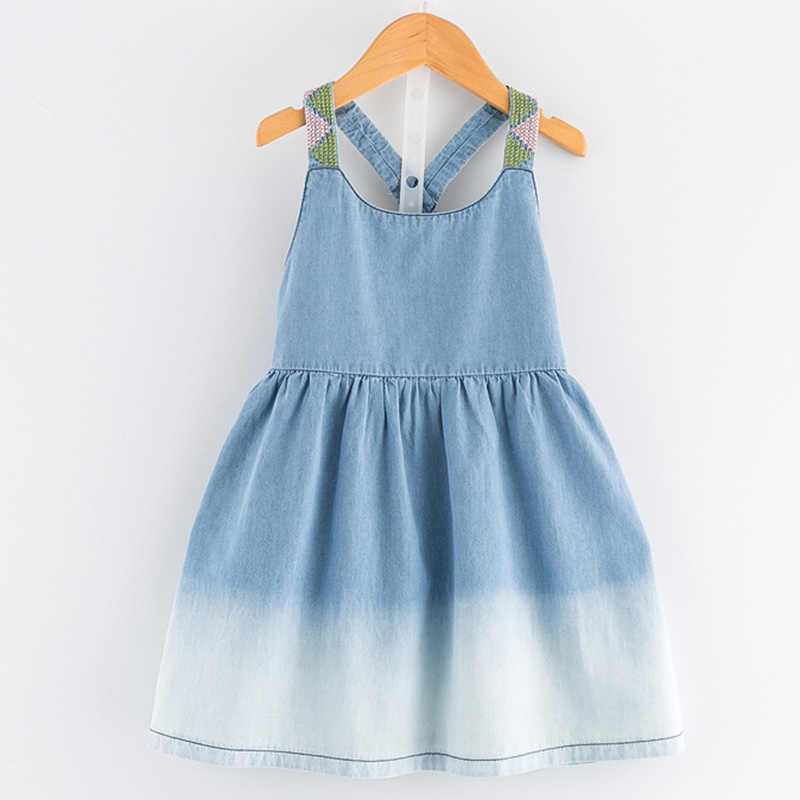 Girls Dress 2019 Casual Summer Style Bull-puncher Dresses Cotton Kids Clothes Backless Denim Dress Shoulder-Straps 3-7Y
