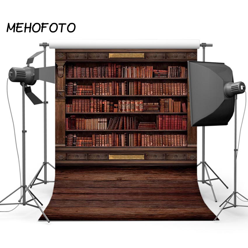 MEHOFOTO Vintage Books Wooden Bookshelf Photo Background for Photography Studio Old Library Photographic Backdrops otomatik çadır