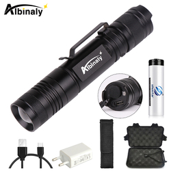 Glare LED Flashlight Rechargeable LED Torch 5 Lighting modes Camping light Portable lighting Use 18650 battery Give a free gift