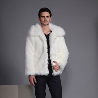 2017 Men Fur Collar Business Imitation Fox Long Hair Fake Fur Coat