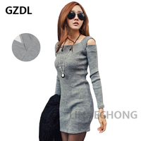 New Korean Women Ladies Off Shoulder Long Sleeve Bodycon Party Casual Autumn Novelty Dress Knitwear Clothing