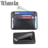 VM FASHION KISS Men's Casual Ultra thin Genuine Leather RFID information safe card bag Man Business Purse Mini Wallet ID Holder