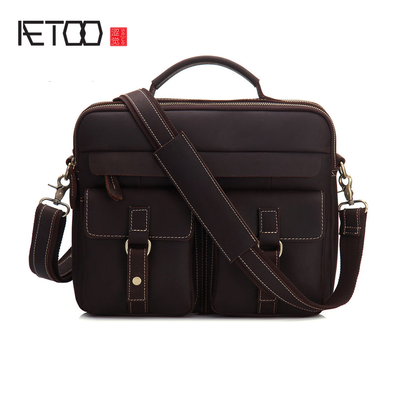 AETOO The first layer of cowhide Amazon shoulder bag walnut skin retro leather bag leather personalized personality briefcase socio linguistic analysis of the settlers in the brazilian amazon