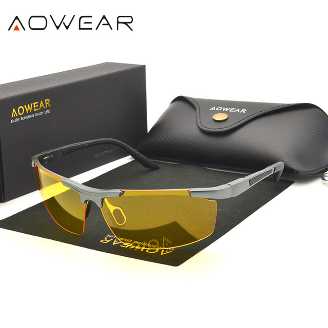 fb9b90ade1 AOWEAR marca gafas de visión nocturna para conducir amarillo gafas de sol  para hombres, gafas
