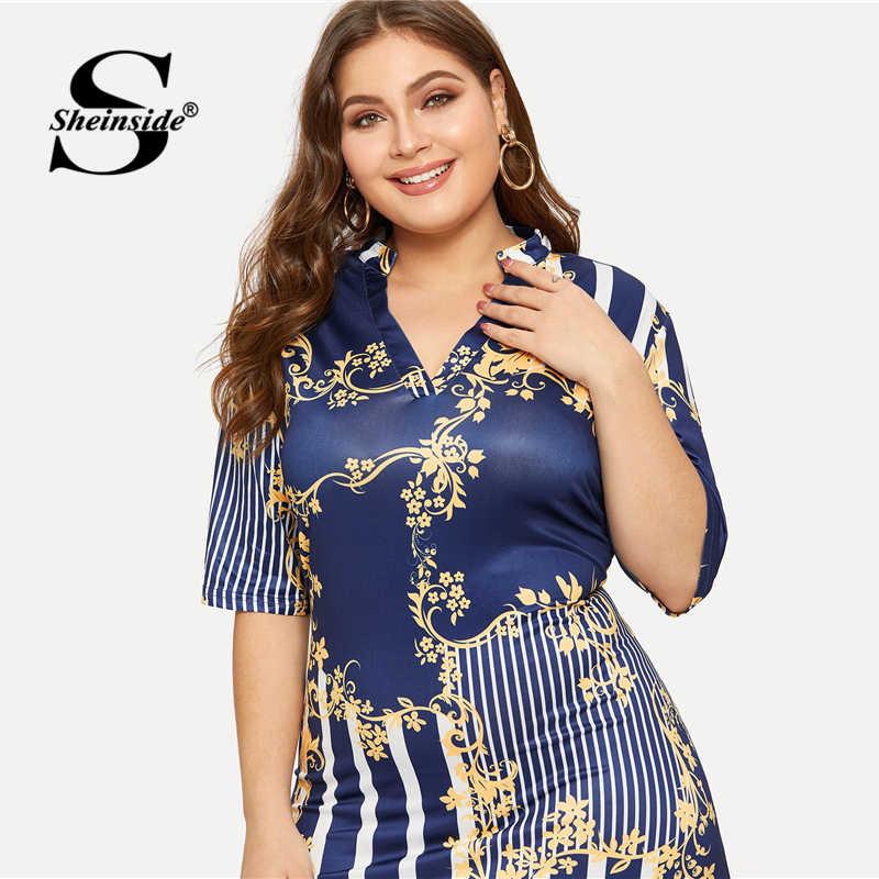 Sheinside размера плюс V образным вырезом платье с принтом в полоску женское лето 2019 короткий рукав лоскутное миди платье женское облегающее платье