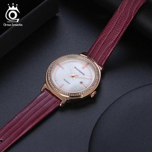 Image 4 - ORSA JEWELS Luxury Women Wrist Watch Bracelet Waterproof Ladies Quartz Watches Real Leather Crystal Stone Watchband Reloj OOW07