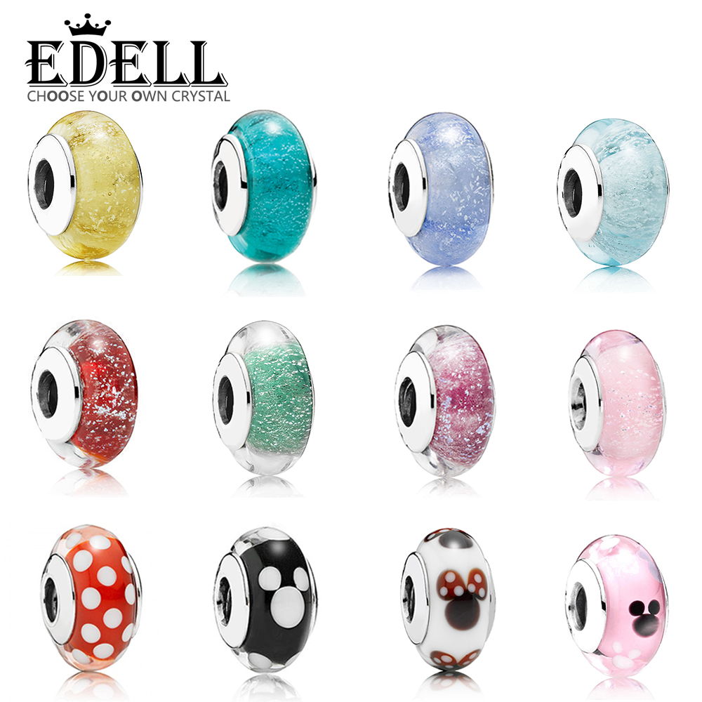 EDELL Romantic 925 Sterling Silver Starry Murano Crystal Signature  Glass Beads Fit Original Bracelet Charms Authentic Jewelry EDELL Romantic 925 Sterling Silver Starry Murano Crystal Signature  Glass Beads Fit Original Bracelet Charms Authentic Jewelry