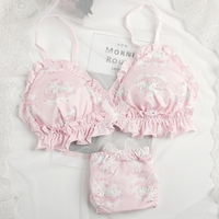 Sweet bra set lovely print girls lace bow underwear no steel rim comfort bragas algodon mujer string femme thongs tanga mujer