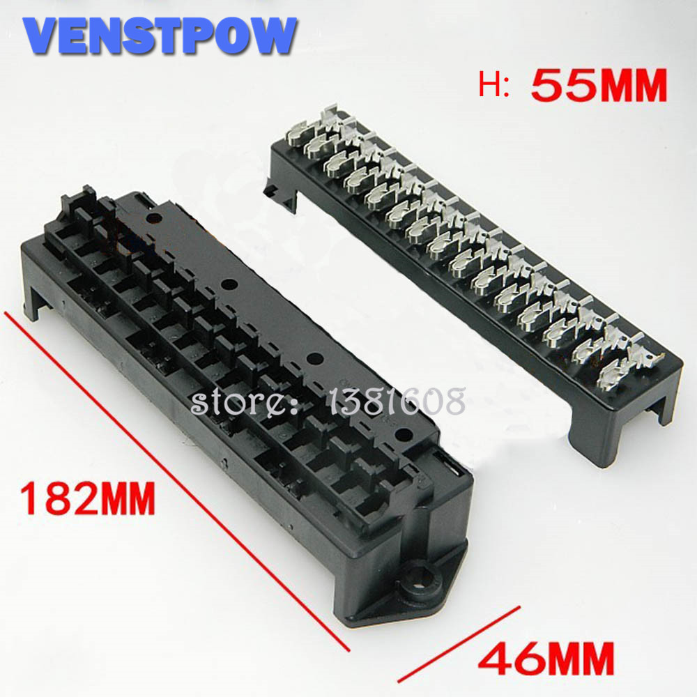15 Way Black Car Seat Medium Relay Fuse Box Assembly With 30pcs Terminals Car Engine Compartment Insurance Holder Box Mounting