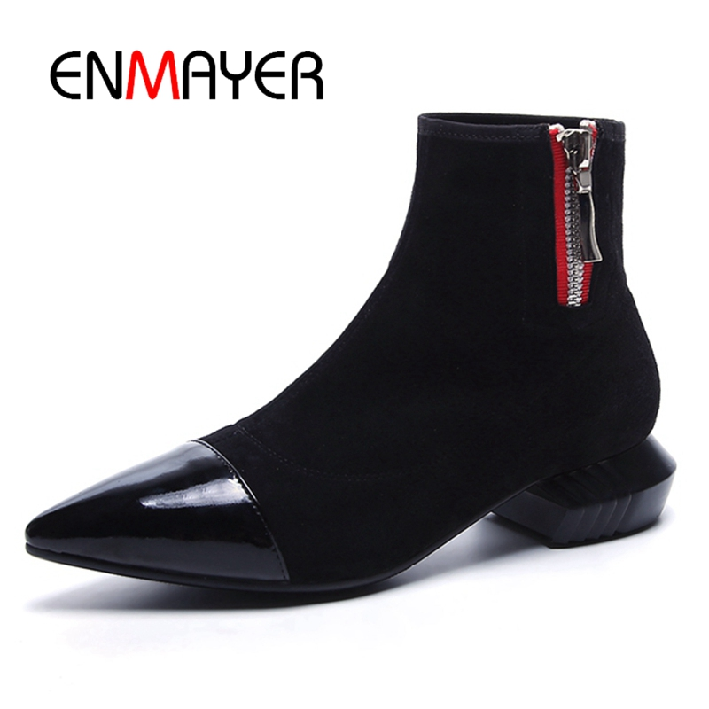 ENMAYER Womens Genuine Suede Pointed toe Patchwork Slip-on Ankle Boots Brand Med Heel Zip Autumn Short Boots Shoes Women CR401
