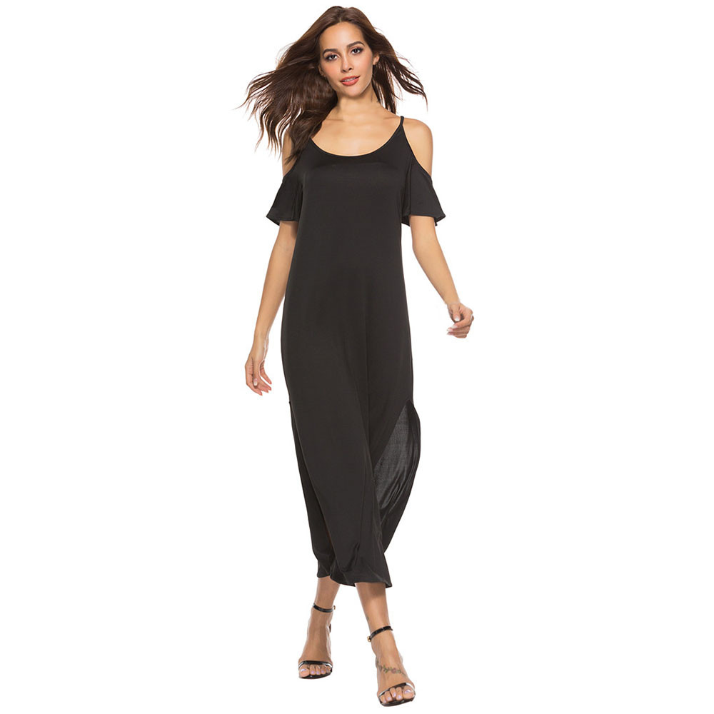Women Solid Cold Shoulder Tank Maxi Dress Casual Summer ...