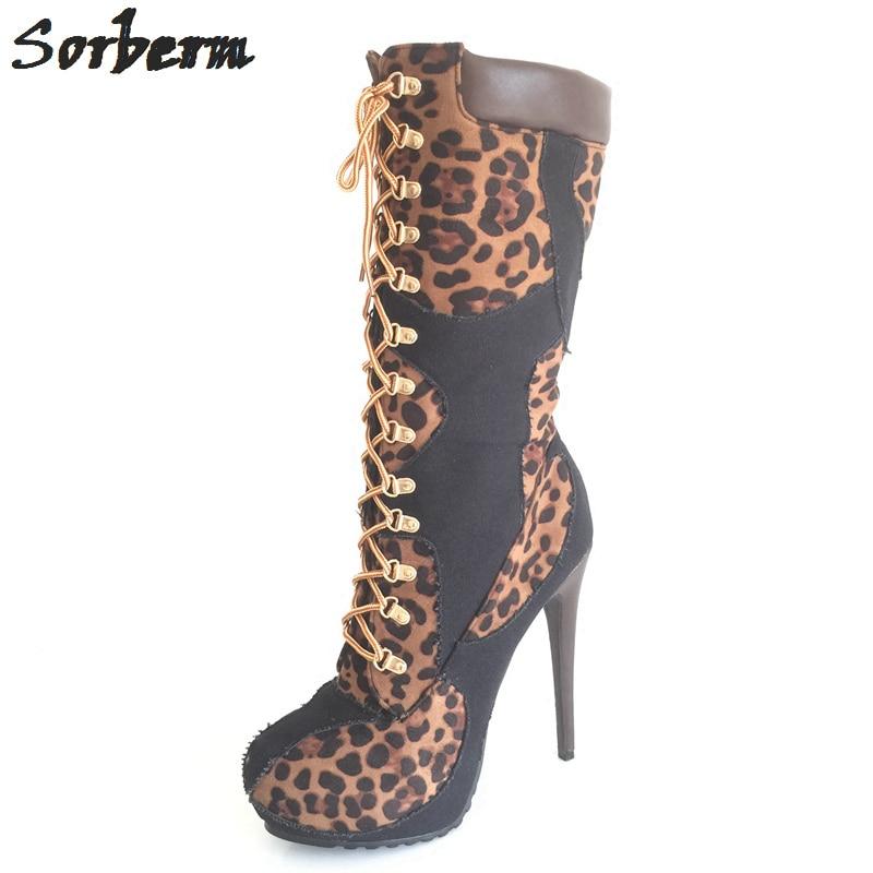 Sorbern Brown Leopard Mid Calf Women Boots For Ladies High Heels Platform Shoes Platform Boots Woman Shoes 2018 Winter sorbern brown leopard mid calf women boots for ladies high heels platform shoes platform boots woman shoes 2018 winter