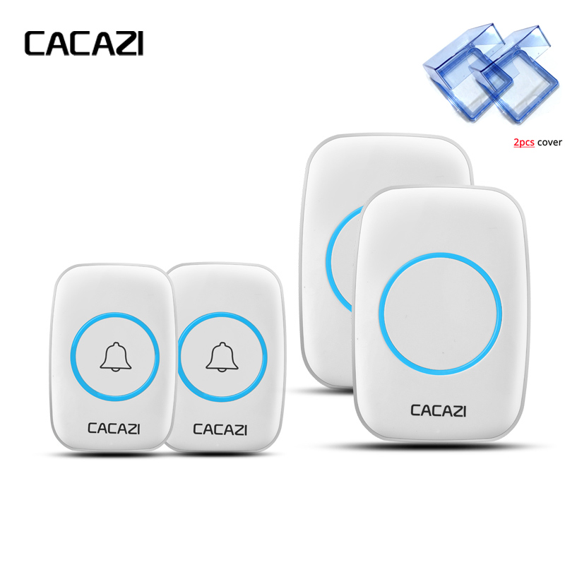 CACAZI New Wireless 2Outdoor Transmitters Doorbell With 2pcs Waterproof Cover 300M Remote EU AU UK US Plug smart Door Bell Chime new home welcome doorbell intelligent wireless doorbell waterproof 300m remote eu au uk us plug smart door bell chime