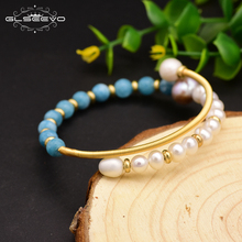 XlentAg Original Natural Fresh Water Purple Pearl Aquamarine Handmade Bangle For  Women Bride Wedding Luxury Jewelry GB0118