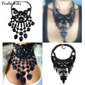 Vedawas Black Collier Vintage Jewelry For Women 2016 New Tassel Maxi Necklace Rhinestone Collar Choker Statement Necklace XG2153
