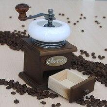 MICCK Retro ahşap manuel kahve değirmeni Barista araçları taşınabilir Cappuccino Latte Mocha Cafe fasulye biber baharat taşlama