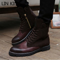 LIN KING New Mens Pu Leather High Top Lace Up Fashion Martin Boots Retro Zipper Square Heel Motorcycle Shoes Man Gladiator Boots