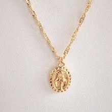 92046aab160d Bohemia Color oro Cruz collar de capas Jesús Virgen María COLLAR COLGANTE  Cadena de día de regalo para las mujeres LXL188
