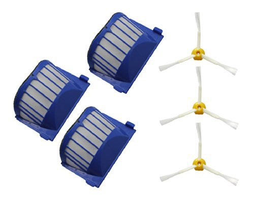 3  Aero Vac Filter + 3 side Brush kit for iRobot Roomba 600 Series 595 620 630 650 660 Vacuum Cleaner replacement vacuum cleaner accessory kit roomba 500 551 536 accessory kit replacement includes 1 battery 3 side brush 3 filters