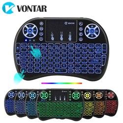 VONTAR i8 teclado inalámbrico ruso inglés hebreo versión i8 + 2,4 GHz Air Mouse Touchpad de mano para Android TV BOX mini PC