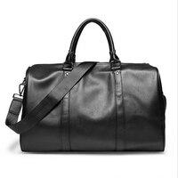 Oferta Bolso de viaje bolso de deporte al aire libre bolso de gimnasio bolsos de hombro de Fitness cuero de PU suave impermeable portátil de hombre bolsa de lona bolsa negra