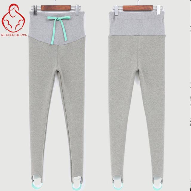 As mulheres grávidas mulheres grávidas outono e inverno mais grossa de veludo leggings passo pé pés cuidados de grávidas calças mulheres barriga calças