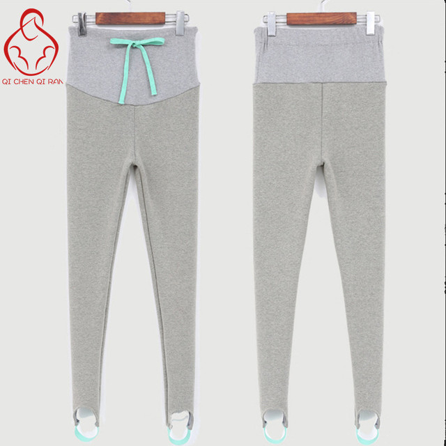 Pregnant women pregnant autumn and winter plus thick velvet leggings step foot feet care of pregnant women belly pants trousers