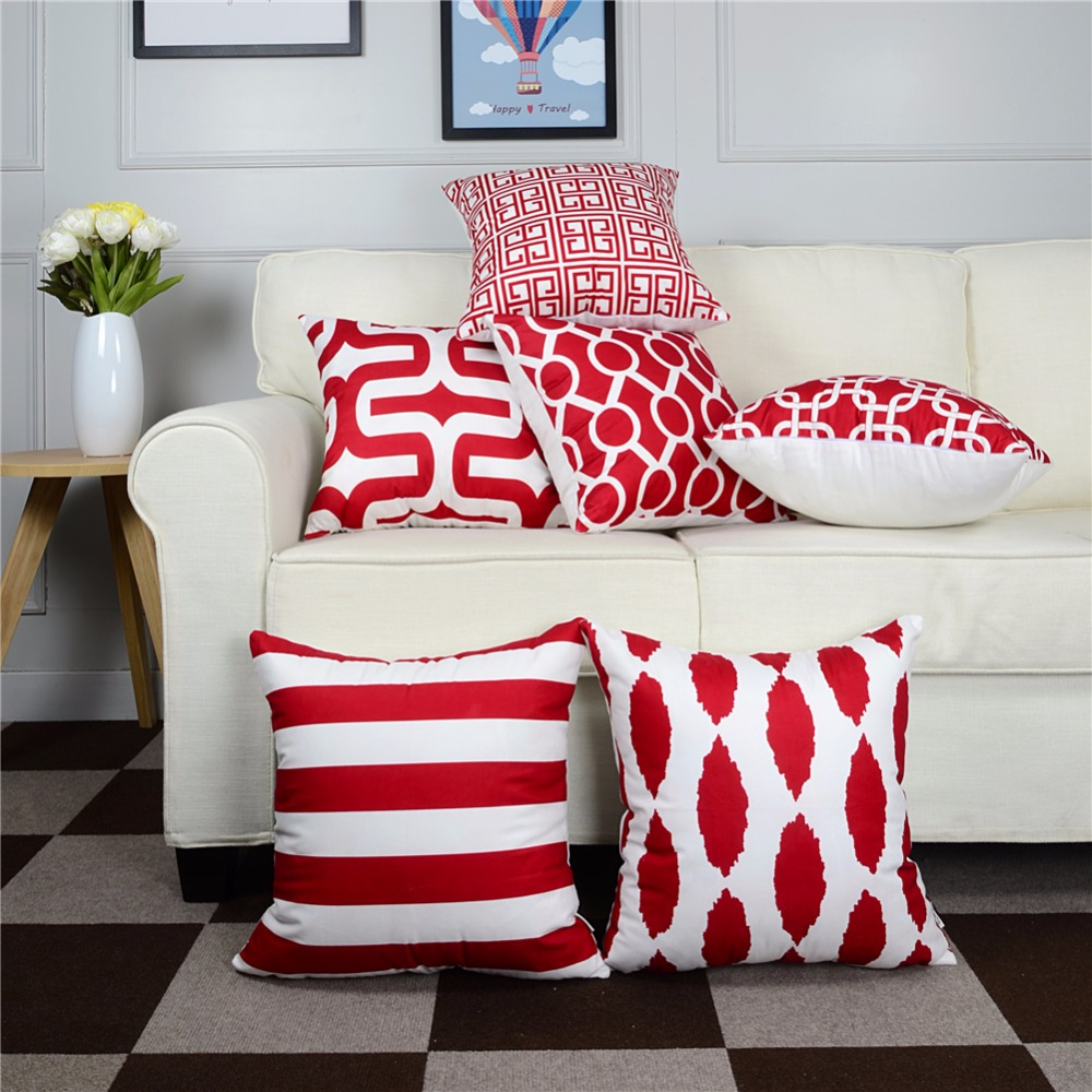 Top Finel Geometric Decorative Throw Pillow Cases Cushion Covers For Sofa Seat Office Chair Microfiber 45x45 Cm Red