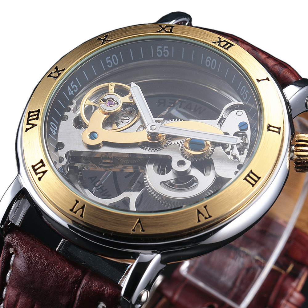 2016 New Fashion Watches Men Luxury Steel Bridge Case Transparent Skeleton Automatic Mechanical Leather Strap Antique