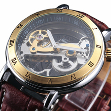 2016 neue Fashion Uhren Männer Luxury Stahlbrücke Fall Transparent Skelett Automatische Mechanische Lederband Antik Armbanduhr