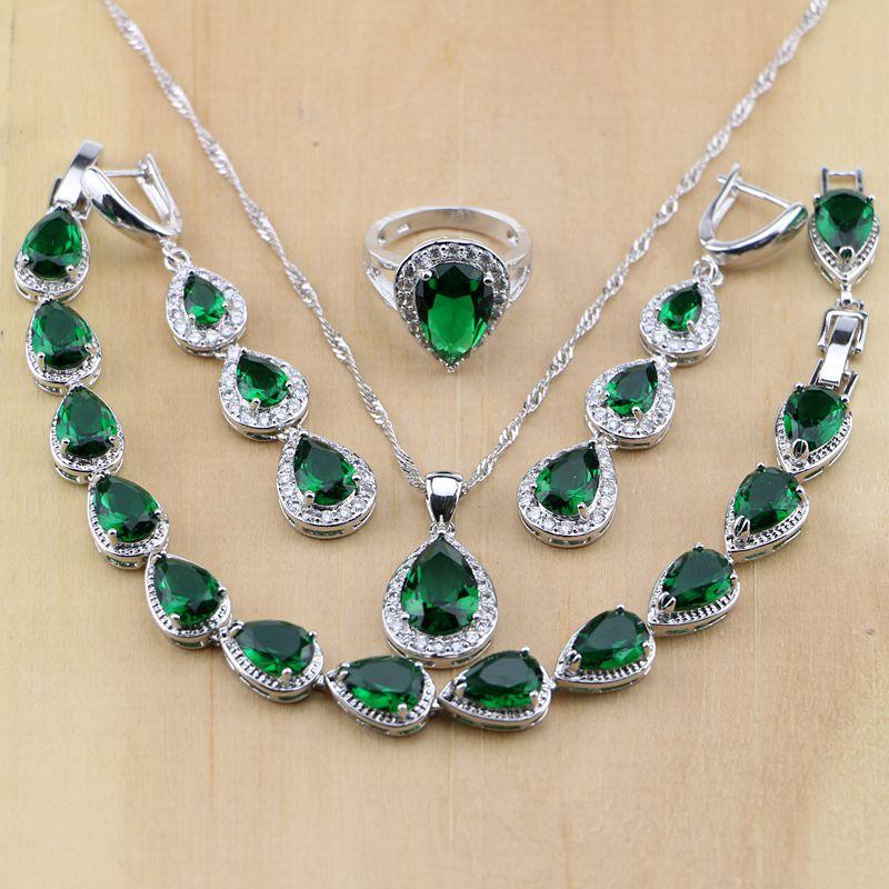 Schmuck & Zubehör 925 Sterling Silber Wassertropfen Grün Erstellt Smaragd Weiß Cz Frauen Schmuck Sets Ohrringe/anhänger/halskette/ringe/armband