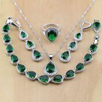 925 argent Sterling goutte d'eau vert émeraude blanc CZ femmes bijoux ensembles boucles d'oreilles/pendentif/collier/bagues/Bracelet