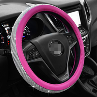 Crystal Rhinestone Car Leather Steering Wheel Covers Car for Women Girls Steering WheelCover Auto Car Interior Accessories