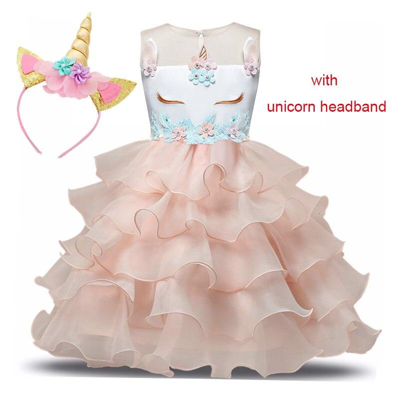 Unicorn Dresses for Party Princess Costumes vestido unicornio layered Christmas Dress Kids Girls 3 5 6 8 years Children Clothes