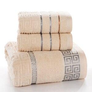 Image 3 - Plaid 100% Katoenen Gezicht Hand Badhanddoek Set voor Volwassen Badkamer 650g 3 stks/set Handdoek Sets Freeshipping