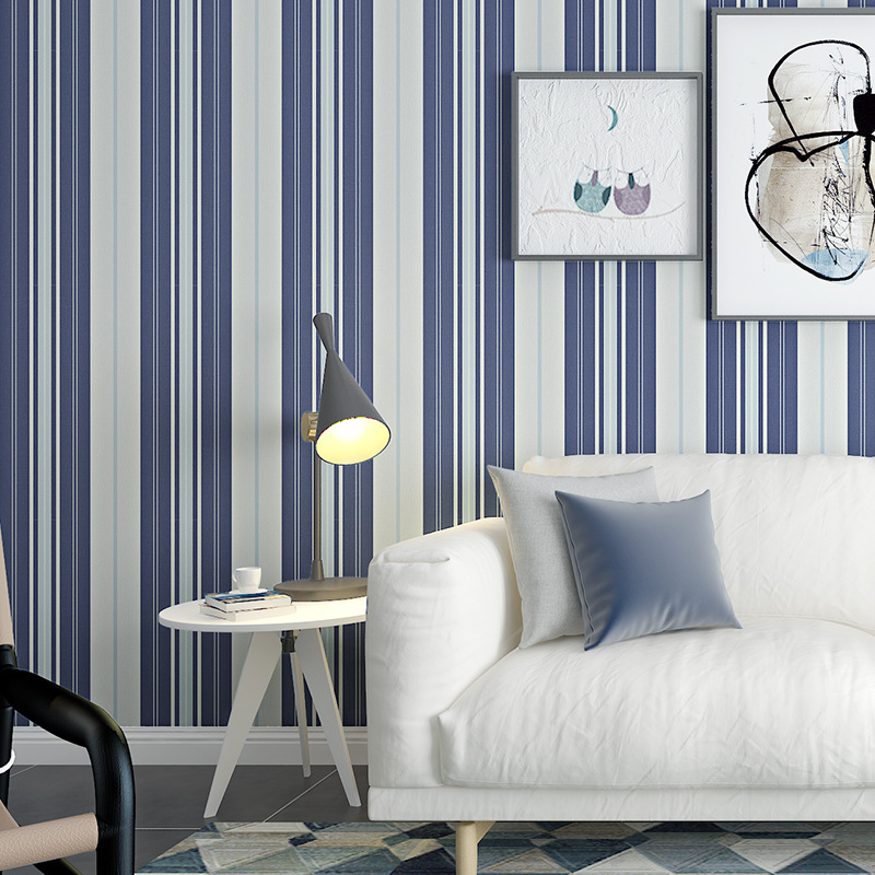 beibehang Blue horizontal and vertical stripes wallpaper simple Mediterranean 3D bedroom living room TV background wall beibehang 3d european modern minimalist vertical stripes non woven wallpaper shop for living room bedroom tv backdrop