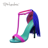 Pink Palms 2017 Women Summer Shoes Fringe High Heel Fuchia Color T Ankle Strap Dress Party