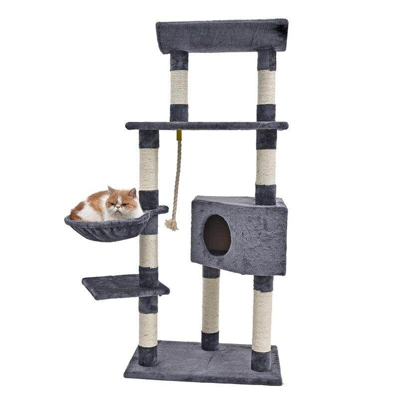 H139cm Kat Speelgoed Fun Cat Klimmen Boom multi layer Met Hangmat Kat Huis Meubels Krassen Massief Houten Post Hoge qualtiy-in Meubels & Krabbers van Huis & Tuin op  Groep 2