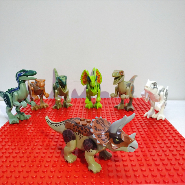 Assemble Building Blocks Jurassic Park Dinosaur World Pterosaurs Triceratops Models Toys for Children Bricks Birthday Gift