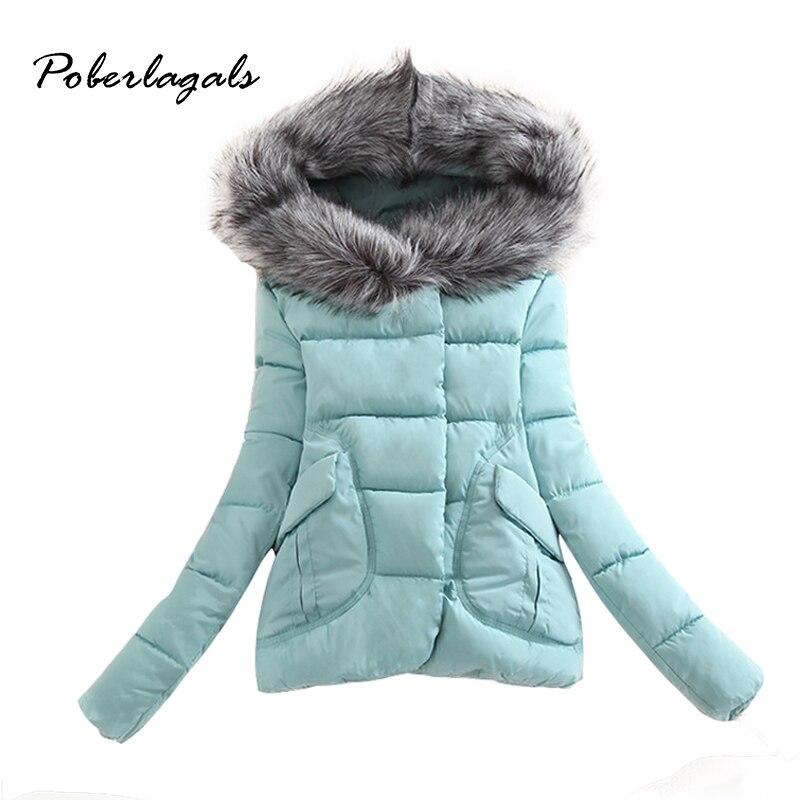 Poberalgals Kar 2016 Kış kadın ceket bayan Kalınlaşmak Sıcak Artı Boyutu Ceket Parkas Aşağı Kürk Hoodies Kadınlar için Ceketler Dış Giyim