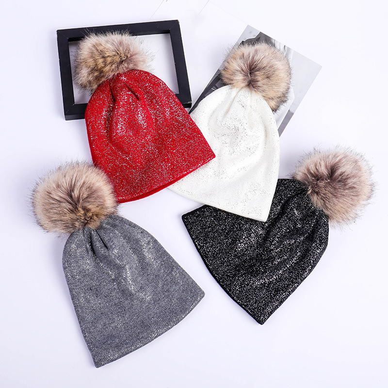 New Winter Hat Girl Fashion Bling Style Women Beanies Cap Cute Faux Fur Pom  Pom Thick 608fb0d1af7