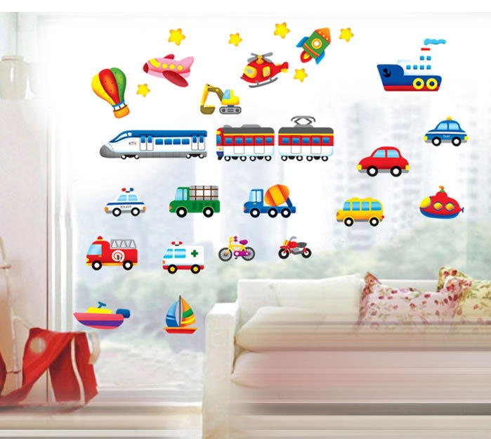 Creative Traffic Racing Cars Wall Stickers Decals Baby Boy Child Bus Truck  Vinyl Wallpaper Kids Rooms Nursery Home DIY Decor In Wall Stickers From  Home ... Part 24