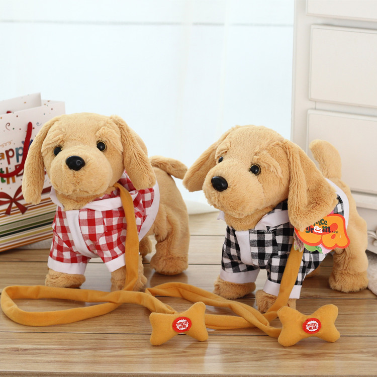 JM-286 Electronic Dog Robot Dog Plush Pet Toy Singing 2 English Songs Walk Bark Leash Teddy Toys For Children Birthday Gifts hot sale short plush chew squeaky pet dog toy