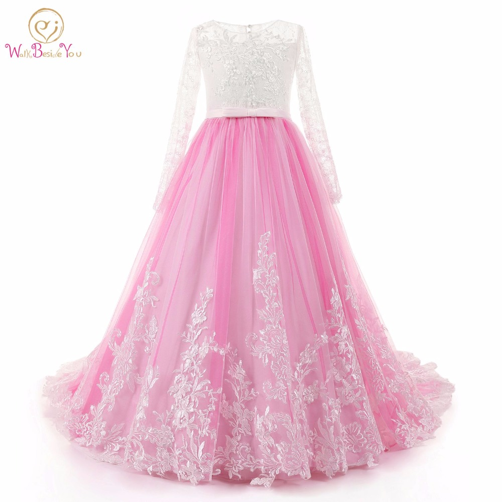 Walk Beside You Long Sleeves   Flower     Girl     Dresses   Pink Ivory Lace vestidos de comunion with Train   Dresses     Flower     Girl   Beaded Gown