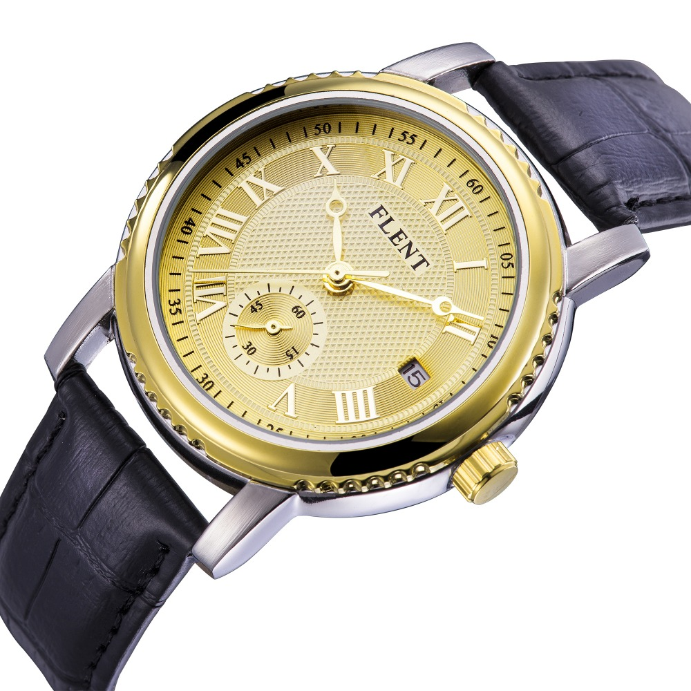 Second Hand Watches >> Us 16 38 41 Off Men Leather Strap Automatic Mechanical Watches Auto Date Display Second Hand Fashion Analog Wrist Watch In Mechanical Watches From
