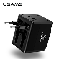 USAMS 4 In 1 Mobile Phone Charger Global Conversion Socket Dual USB Multifunction Universal Travel Wall
