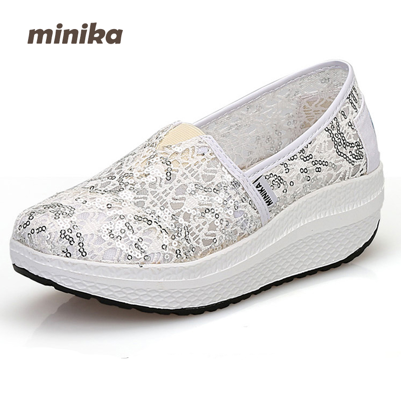 Minika women Breathable wedges Summer Woman Fitness Shoes Casual Slip On Shallow Lose Weight Platform Outdoors Shoes 7e09 new women lose weight slimming swing shoes summer breathable air mesh slip on wedge platform shoes zapatillas mujer deporte