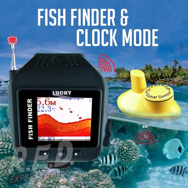 цена на FF-518 LUCKY Waterproof Watch Type Fish Finder Colored Screen Wireless Sensor Fishfinder Clock Mode Built-in Battery